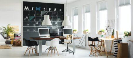 Workspace with blackboard calendar