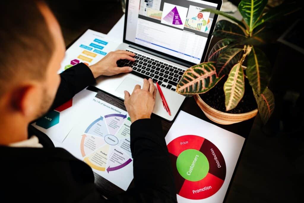 Manager che pianifica operazioni di marketing al computer