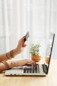 Woman making purchases online